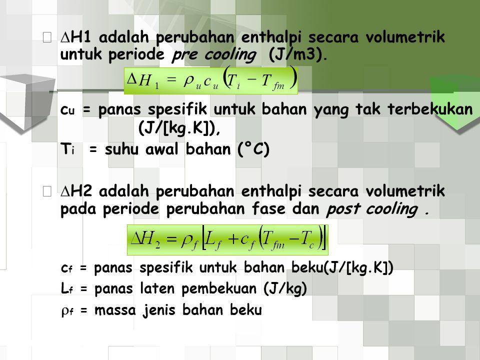 ( ) cu = panas spesifik untuk bahan yang tak terbekukan (J/[kg.K]), T
